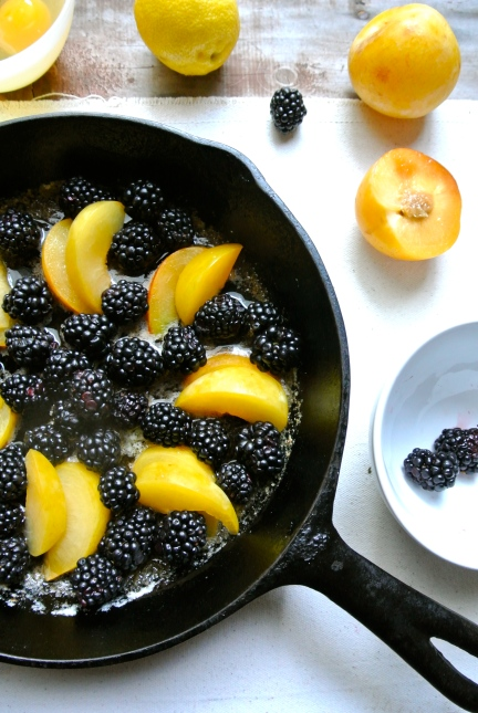 Blackberries & Pluots in Iron Skillet