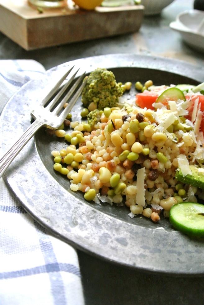 Fergola Sarda, Lady Peas & Pesto Salad