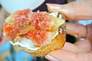 Figs Crushed onto Cream Cheese & Toasted bread