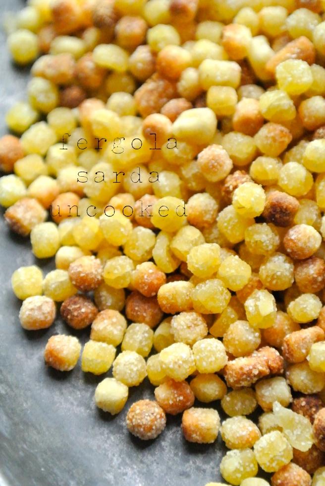uncooked fergola sarda pasta