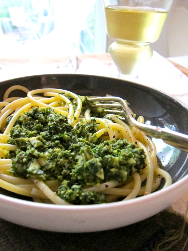 Kale Pesto on Pasta