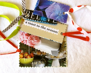 Cardstock & magazine images collaged labels