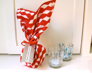 Cloth Napkin wrapped candles