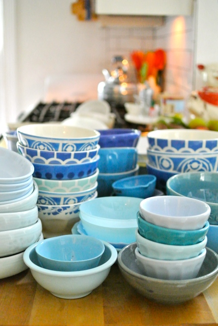 A couple of weeks ago I cleaned, purged & straightened up my styling props....do you think I have enough blue bowls?