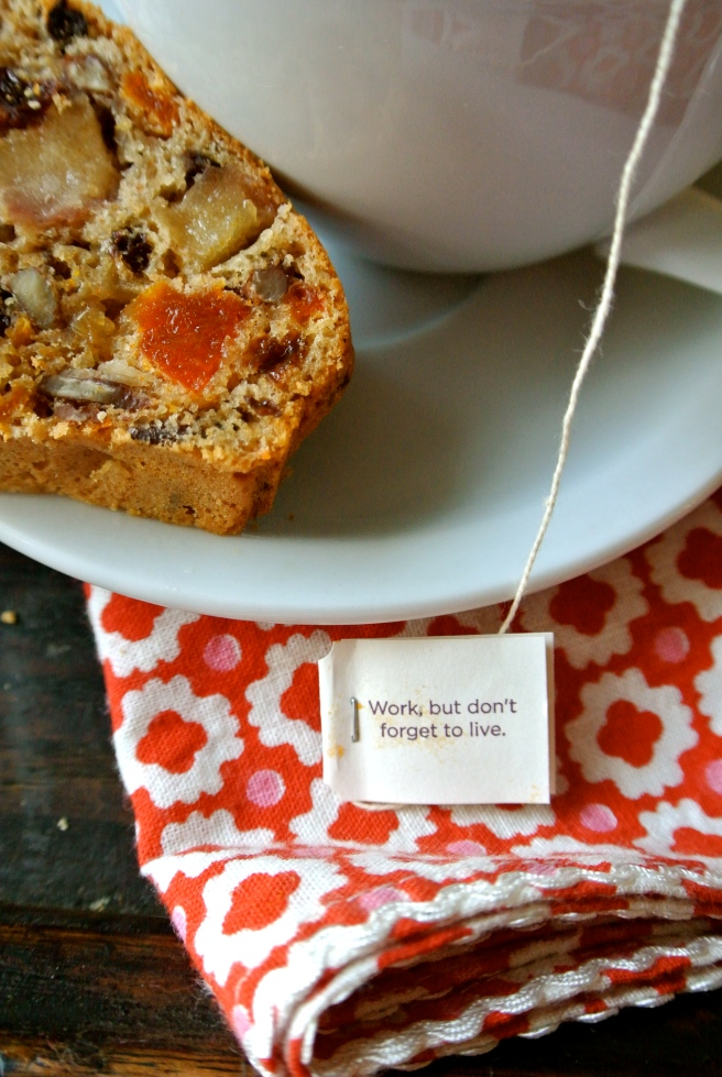 slice of fruitcake with tea