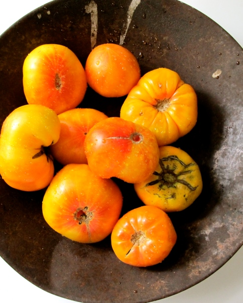 Orange heirloom tomatoes