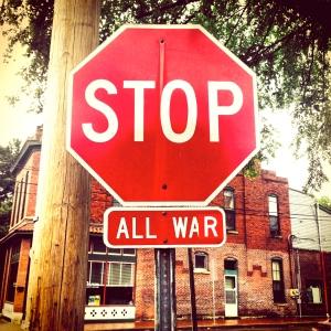 Wednesday, May 14, walk  around neighborhood, sign at corner of Monroe & 6th, Historic Germantown, Nashville, TN