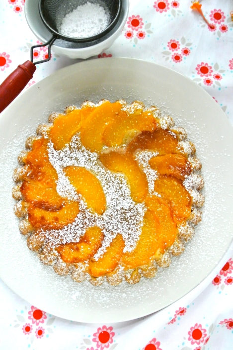 Peach Cake dusted with Powdered Sugar